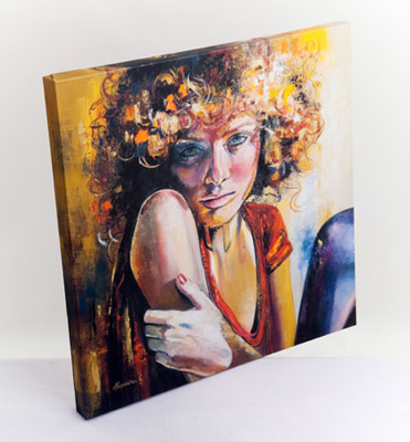 Front example of Giclee block canvas print