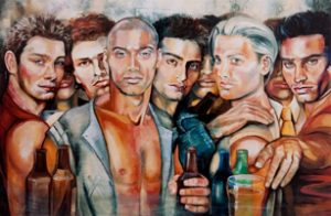 Painting of men drinking in bar